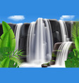 tropical waterfall landscape background vector image