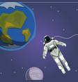 ute astronaut with planet and stars in space vector image vector image
