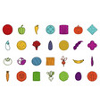 vegetables icon set color outline style vector image