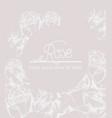 vintage roses wreath card line art boho style vector image vector image