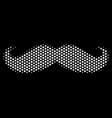 white pixelated gentleman moustache icon vector image