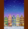 winter town at night vector image vector image