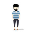 young man hipster casual clothes full length vector image