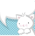White cute little kitty baby blue backdrop vector image