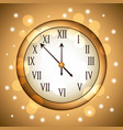 golden clock rounded with glitter sparkle gold vector image