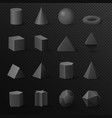 3d basic volumetric black diamond shapes figures vector image