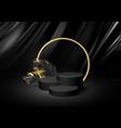 3d realistic black pedestal on a black silk vector image vector image