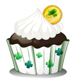 A chocolate cupcake with a token vector image vector image