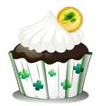 A chocolate cupcake with a token vector image vector image