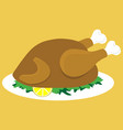 baked chicken on a plate vector image vector image