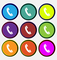 Call icon sign Nine multi colored round buttons vector image vector image