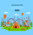 cartoon amusement park card poster ad vector image vector image