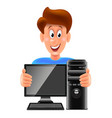 cartoon computer repair man isolated vector image vector image