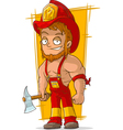 Cartoon cool fireman in red helmet vector image vector image