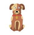 cartoon dog with collar sitting pet animal vector image vector image