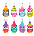 cartoon funny owls with birthday party hats vector image