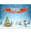 Christmas winter landscape vector image vector image