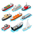 commercial sea ships signs 3d icon set isometric vector image