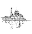 drawing sketch putra mosque malaysia vector image vector image