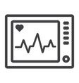 ecg machine line icon medicine vector image