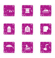 equatorial icons set grunge style vector image vector image