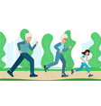 family training grandparents with a child running vector image vector image