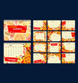 fast food meal and drink year calendar template vector image vector image