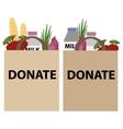 Food donation papper bag vector image