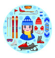 girl and winter equipment vector image vector image