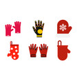 gloves icon set flat style vector image vector image