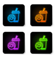 glowing neon soda drink with drinking straw and vector image vector image