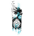 graphic black vintage clock with tree and swallows vector image