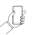 hands holding mobile phone line icon vector image vector image