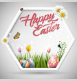 happy easter eggs with flowers tulipbutterfly vector image vector image