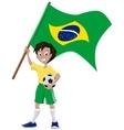 Happy soccer fan holds Brazilian flag vector image vector image