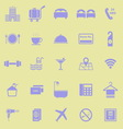 Hotel color icons on yellow background vector image