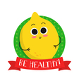 Lemon cute fruit character badge vector image vector image