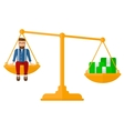 Man sitting on scale with coins vector image vector image