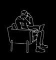 man with laptop side view monochrome vector image vector image