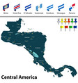 map of central america vector image vector image