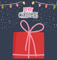 merry christmas celebration red gift box with snow vector image vector image