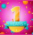 one years anniversary celebration design banner vector image