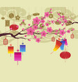 oriental happy chinese new year 2018 blossom vector image