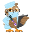 Owl Doctor in mask holds clipboard and pen vector image vector image