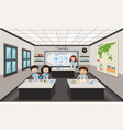 people inside chemistry lab vector image vector image