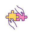 perfect match two puzzles rgb color icon vector image
