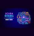 scuba diving neon banner design vector image vector image