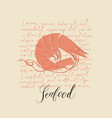 seafood banner or menu with shrimp and inscription vector image vector image