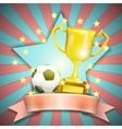 Soccer Retro Poster With Trophy Cup And Ball vector image