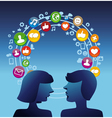 Social media concept with man and woman profiles vector image vector image